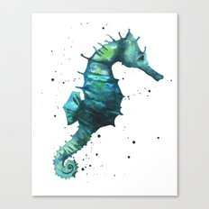 Seahorse print, seahorse painting, watercolor seahorse, green seahorse, ocean art Canvas Print