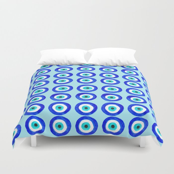 Evil Eye Amulet Talisman - on turquoise Duvet Cover