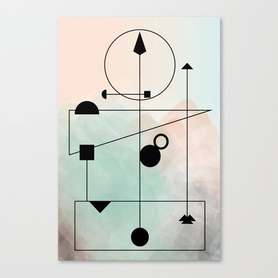 Geometric Scandinavian Design Pastel Colors Canvas Print