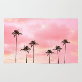 Palm Trees Photography | Hot Pink Sunset Rug