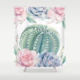 Cactus Rose Succulents Garden Shower Curtain