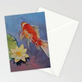 Koi on Blue and Mauve Stationery Cards