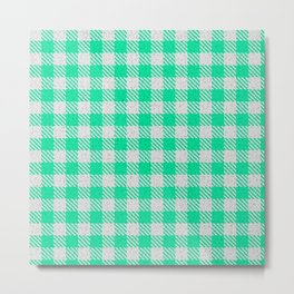 Medium Spring Green Buffalo Plaid Metal Print