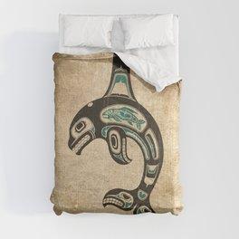 Blue and Black Haida Spirit Killer Whale Comforters