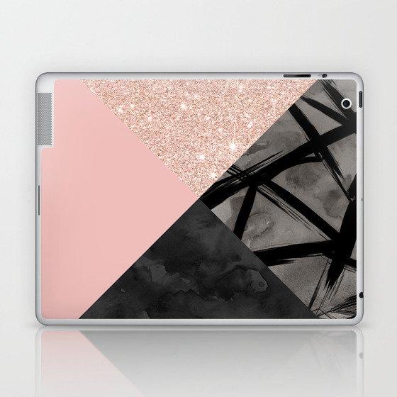 612fbd57a5576 Modern pastel pink black strokes watercolor color block Laptop & iPad Skin  by girlytrend