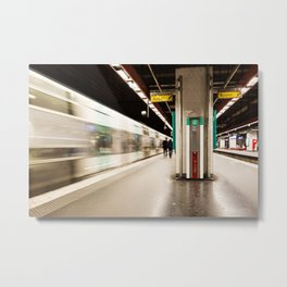 Fast train at the station Metal Print