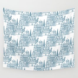 Buildings in Blue Wall Tapestry