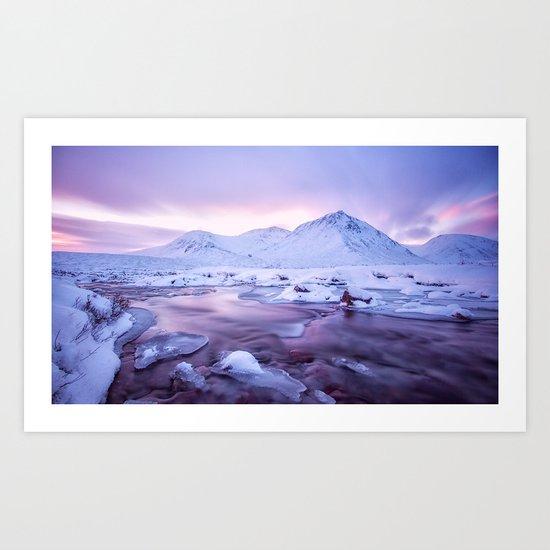Freezing Mountain Lake Landscape Art Print