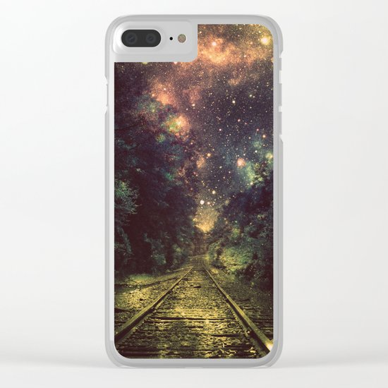Train Tracks Next Stop Anywhere Dark Clear iPhone Case
