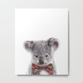 Baby Koala With Bow Tie, Baby Animals Art Print By Synplus Metal Print