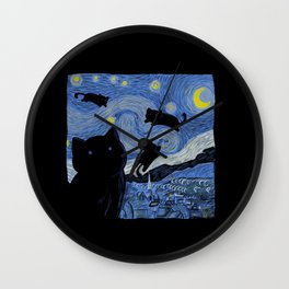 The Starry Cat Night Wall Clock