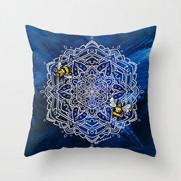 Bee Dance Mandala A - Textured Indigo Throw Pillow