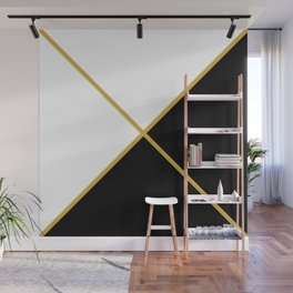 Envelope Geometric Shape Black with Gold and White Wall Mural