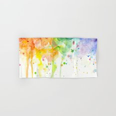 Watercolor Rainbow Splatters Abstract Texture Hand & Bath Towel