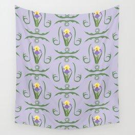 Iris Flowers Illustrated Pattern Purple Green Yellow Summer Garden Wall Tapestry