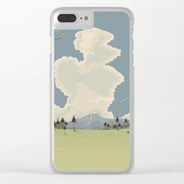 Mountain Landscape cartoon vista. Clear iPhone Case