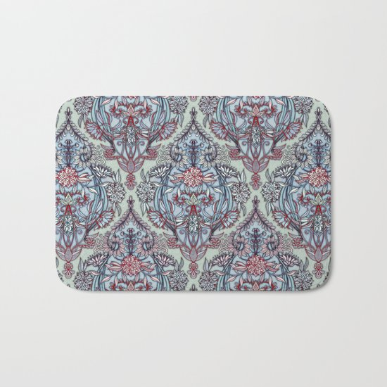 Botanical Moroccan Doodle Pattern in Navy Blue, Red & Grey Bath Mat