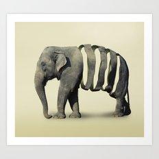 Ribbon Elephant Art Print