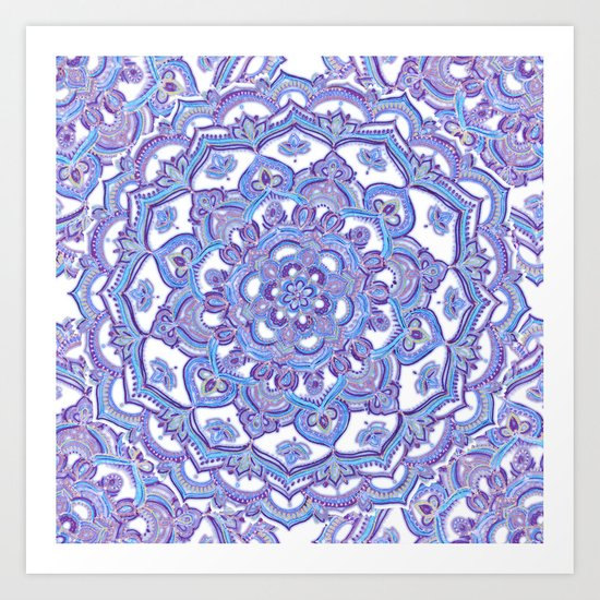Lilac Spring Mandala - floral doodle pattern in purple & white Art Print