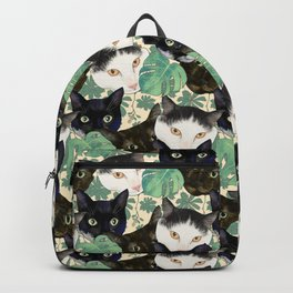 Cute Black and White Cat Portraits and Monstera Leaves Pattern Backpack