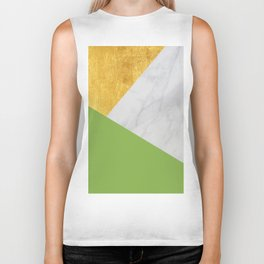 Carrara Marble with Gold and Pantone Greenery Color Biker Tank