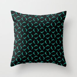 Gentle blue crescents and rounded rhombuses on a black background. Throw Pillow