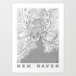 New Haven Map Line Art Print