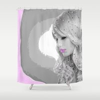 angel Shower Curtains featuring Angel by Müge Başak