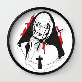 Smoking Nun - Break the Habit Wall Clock