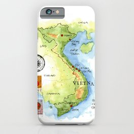 Vietnam Sketchbook Map iPhone Case