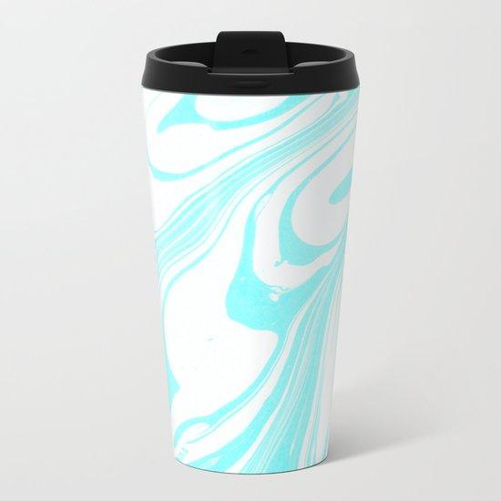 Blue Ink Swirl Marble Metal Travel Mug