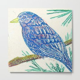Baby Robin Etching by Catherine Coyle Metal Print