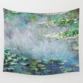 1906 Waterlily on Canvas.  Claude Monet . Vintage fine art. Wall Tapestry
