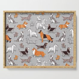 Origami doggie friends // grey linen texture background Serving Tray