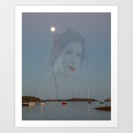haunting image of girl on twilight tranquil Canadian bay  Art Print