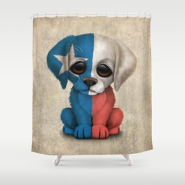 Cute Puppy Dog with flag of Texas Shower Curtain