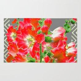 Charcoal Grey Saffrron Red Holly Hocks Pattern Flora Art Rug