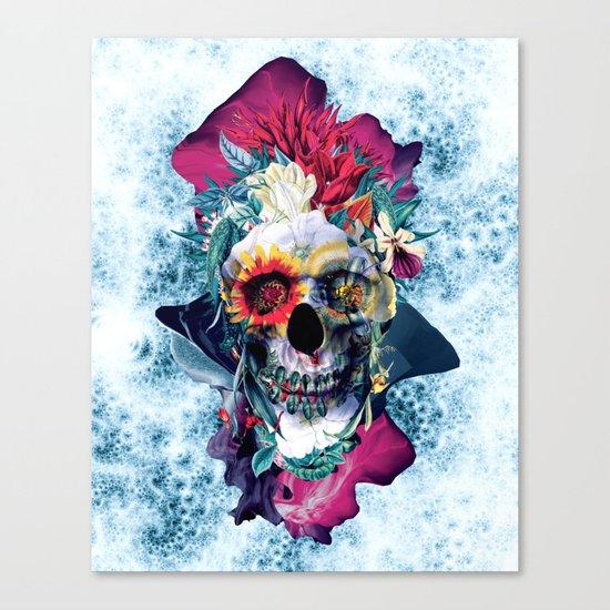 Floral Skull Blue Canvas Print