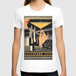 1930's Waldorf Astoria Hotel NYC The Starlight Roof, Champagne Wine Card Vintage Poster T-shirt