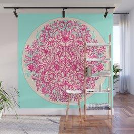 Spring Arrangement - floral doodle in pink & mint Wall Mural