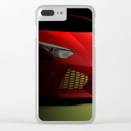 Red sport supercar isolated on black background - 3D rendering illustration Clear iPhone Case
