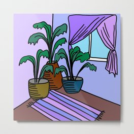 Three Potted Plants in the Corner - Lavender Blue Metal Print