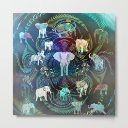 Elegant Elephants On Tapestry Metal Print