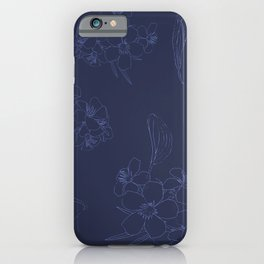 Elegant Line Art Floral in Midnight Blue iPhone Case