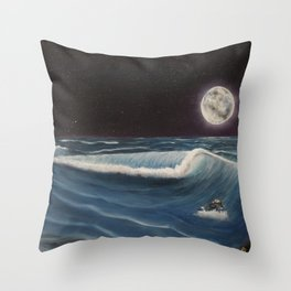 Wave Before The Moon Throw Pillow