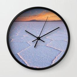 II - Salt flat Salar de Uyuni in Bolivia at sunrise Wall Clock