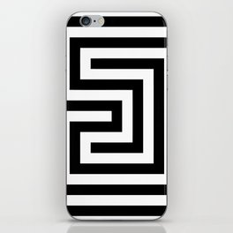 Cretan labyrinth in black and white iPhone Skin