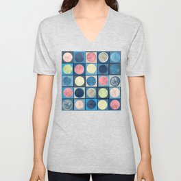 Deconstructed Watercolor Circles and Lines Unisex V-Neck