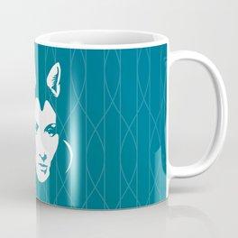 Faces - foxy lady Marlene on a teal wavey background Coffee Mug