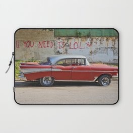 Vintage Car Classic American Automobile Cuba Bel Air Red LOL Graffiti Laptop Sleeve